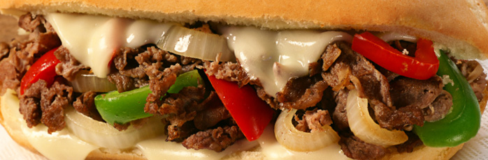 Cheesesteak with onions and peppers